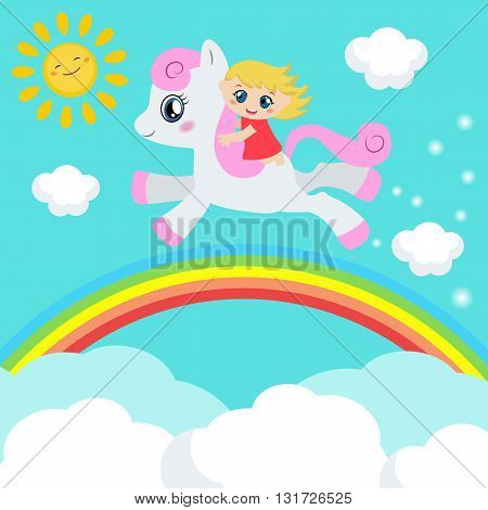 Cute little girl riding on a pony. Background with rainbow and clouds.
