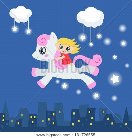 Cute little girl riding on a pony. Silhouette houses under a starry sky.