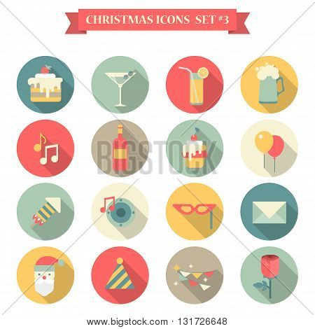 Christmas New Year icon set flat style sweets drinks decorations
