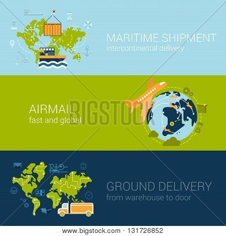 Shipping delivery types concept flat web template infographics