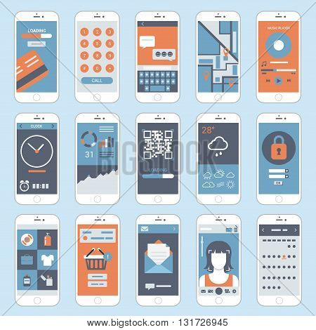 Flat mobile touch screen phones interface windows vector