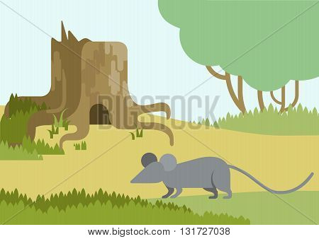 Flat vector cartoon wild animals: mouse and burrow hole