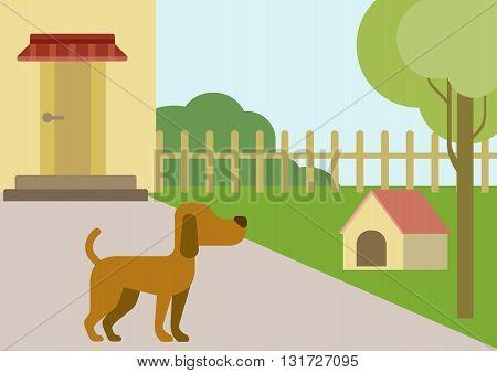 Dog courtyard doghouse flat design cartoon vector animals pets