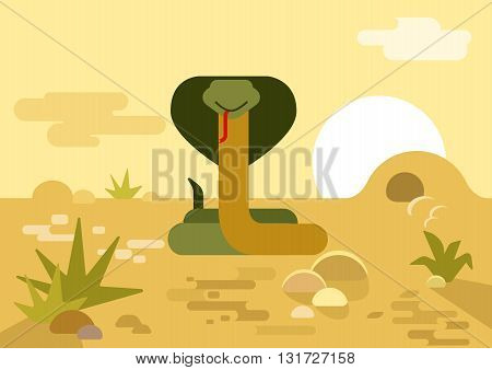 Cobra snake burrow desert flat cartoon vector wild reptile