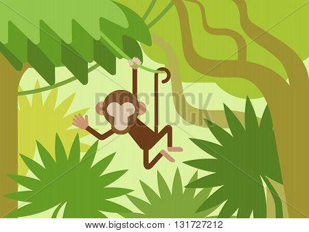 Monkey climber tree branch jungle flat cartoon vector animal