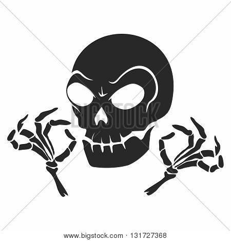 Vector Rustic Creepy Skull and Fingers Logo Illustration isolated