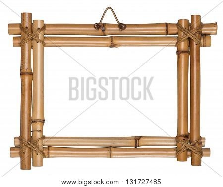 Bamboo frame tied up with rope. It is empty and isolated on the white background