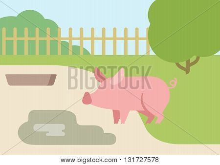 Pig puddle mud flat design cartoon vector farm animals
