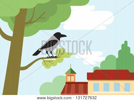 Crow tree branch flat design cartoon vector wild animals birds