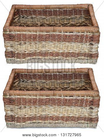 Front view of empty wicker basket. Isolated on the white background. With shadow and without.