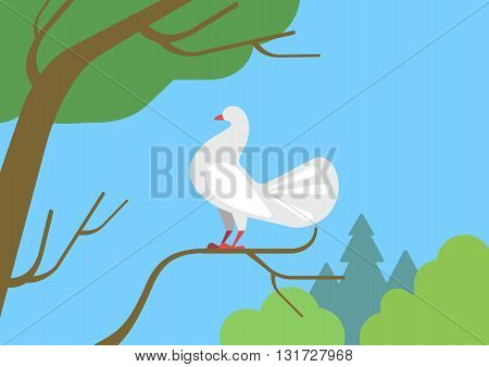 Dove pigeon on tree branch flat cartoon vector wild animal bird