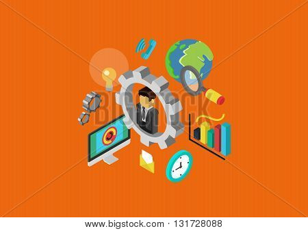Carrier HR flat 3d isometric concept vector web infographic