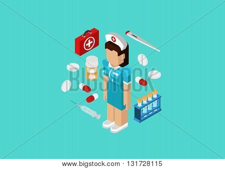 Medical nurse doctor flat 3d isometric concept web infographic