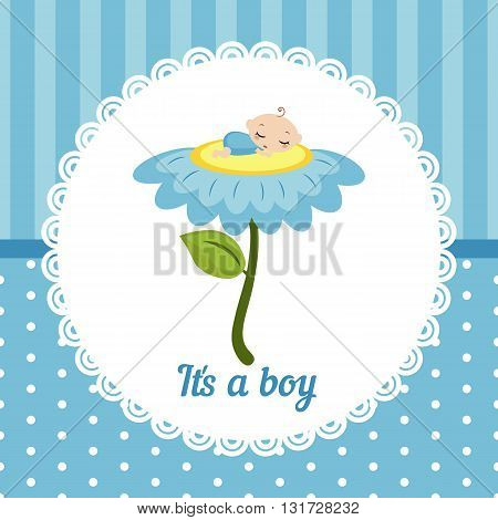 Cute baby boy card. Vector illustration of a baby sleeping on the flower.