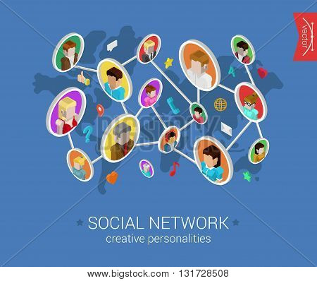 Social network profiles connected flat 3d isometric vector
