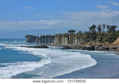 Scene at Cape Foulwind New Zealand. Cliffs and rocks.