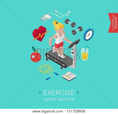 Sport exercise workout flat 3d isometric concept vector icon
