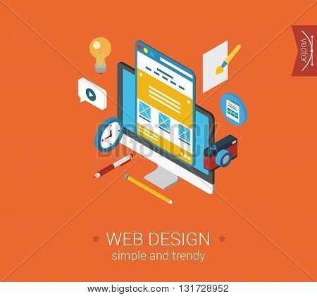 Web design website interface layout flat 3d isometric concept