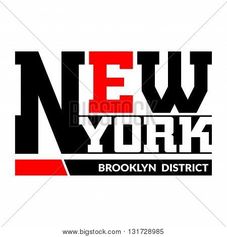 T shirt typography graphics New York Brooklyn. Athletic style NYC. Fashion stylish print for sports wear. Black white red emblem. Template apparel card poster. Symbol big city. Vector illustration