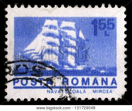 ZAGREB, CROATIA - JULY 19: A stamp printed in Romania shows Cadet barque Mircea, with the same inscription, from the series Ships, circa 1974, on July 19, 2012, Zagreb, Croatia