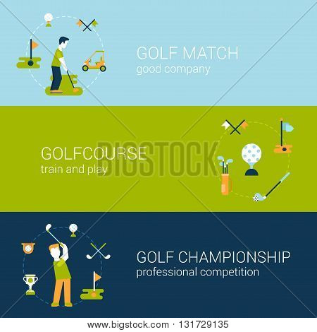Golf sport club course flat web banners template set vector