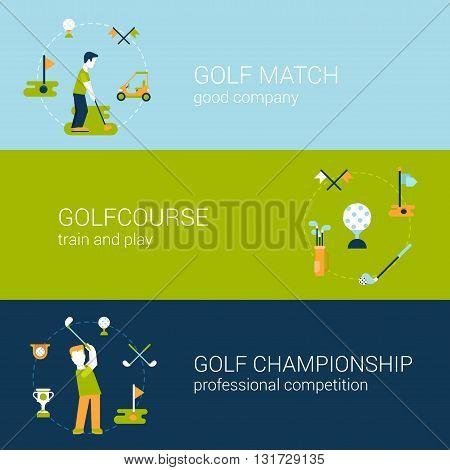 Golf sport club course flat web banners template set vector