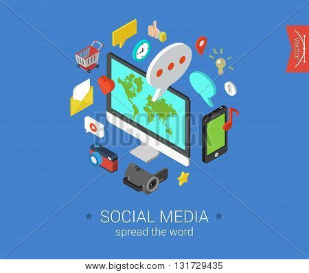 Social media flat 3d isometric vector infographic