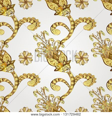 Abstract golden ornament. Oriental vector pattern with arabesque and floral elements.