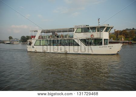 BELGRADE/SERBIA-OCTOBER 23, 2015: Panoramic River boat on the Sava River. October 23, 2015-Belgrade/Serbia