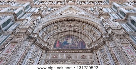 FLORENCE, ITALY - JUNE 05:  Portal of Cattedrale di Santa Maria del Fiore (Cathedral of Saint Mary of the Flower), Florence, Italy on June 05, 2015
