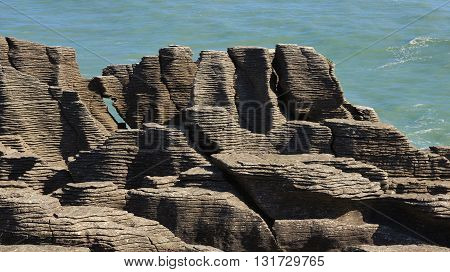 Unique rock formation in Punakaiki South Island.
