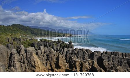 Unique rock formation at the west coast of New Zealand. Pancake Rocks in Punakaiki.