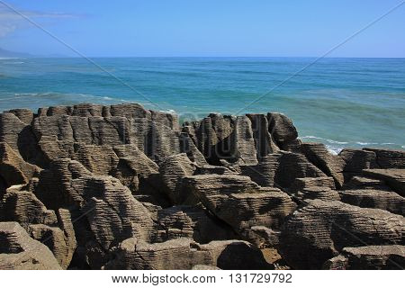 Rock formations in Punakaiki New Zealand. Pancake Rocks.