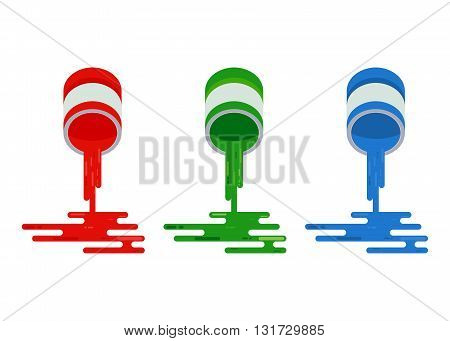 Paints are derived from cans. Objects isolated on a white background. Flat vector illustration.