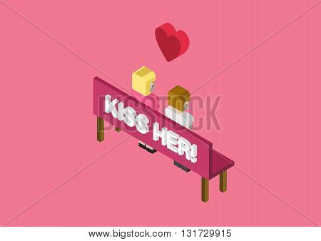 Kiss her couple date flat 3d isometric vector infographic