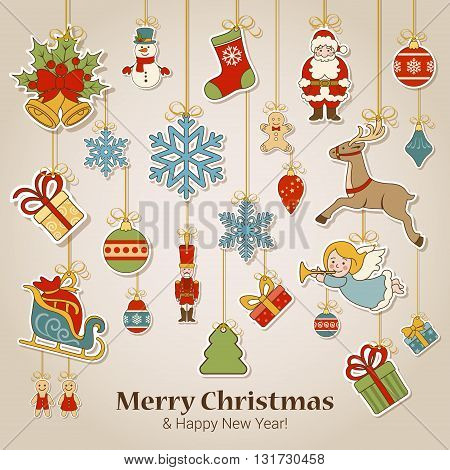 Christmas New Year sticker label decorations postcard template