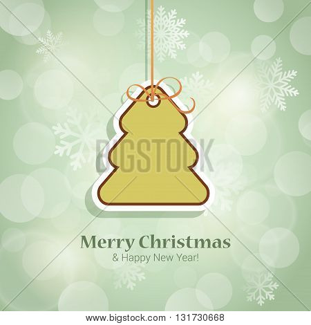 Christmas tree and New Year sticker style postcard vector