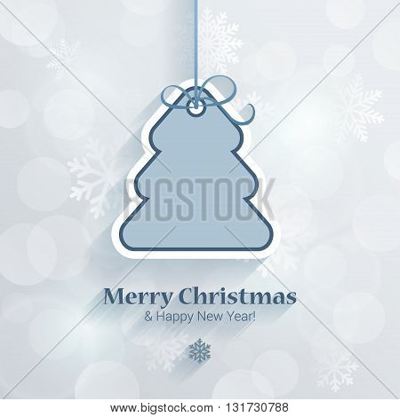 Christmas and New Year sticker style postcard template vector