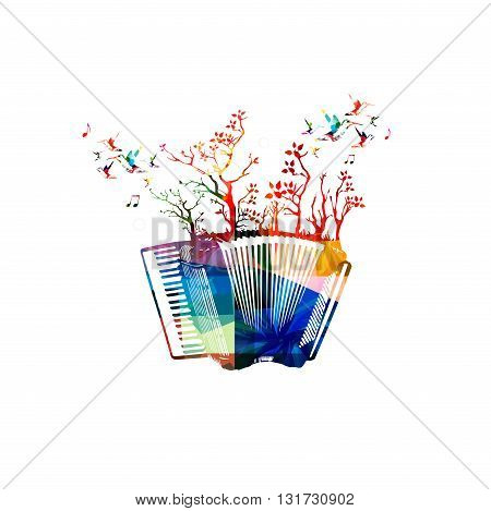 Vector illustration of colorful accordion with trees