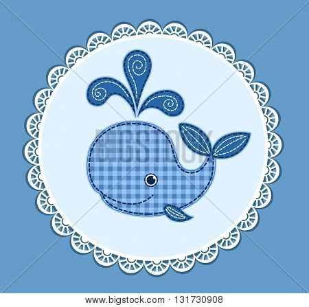 Cute little cartoon whale. Card for baby shower. Vector patchwork illustration.