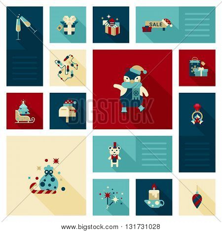 Flat modern style Christmas decoration elements icon vector set