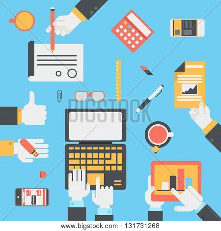 Flat style modern business technology desktop hands icon set