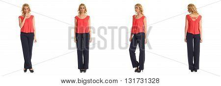 Full Length Portrait Of Beautiful Women In Trousers