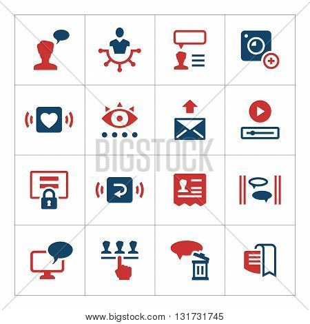 Set color icons of social network isolated on white. Vector illustration