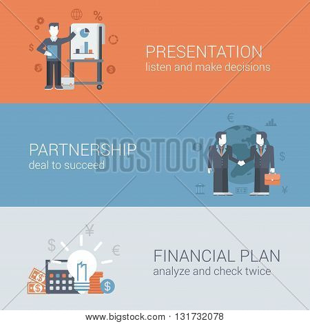 Flat businessman presentation partnership financial plan concept