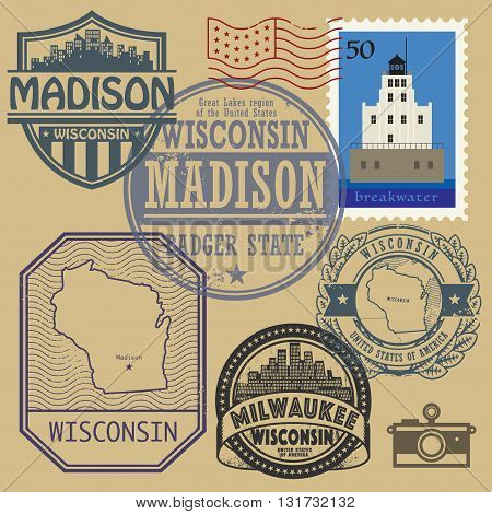 Stamp set with the name and map of Wisconsin, United States, vector illustration