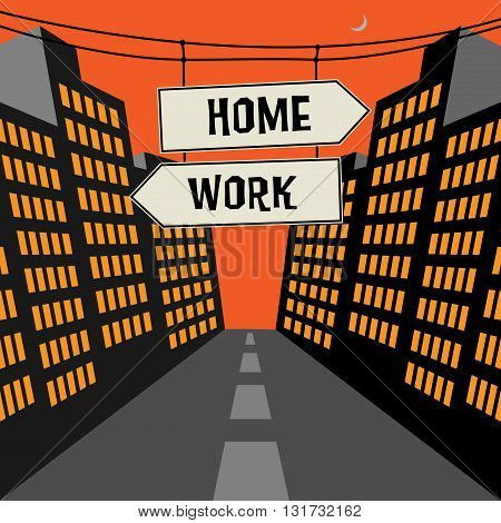 Road sign with opposite arrows and text Home - Work, vector illustration