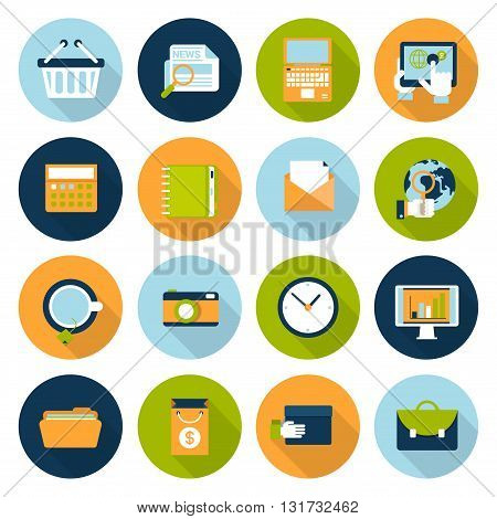 Flat vector online business e-commerce technology internet icons