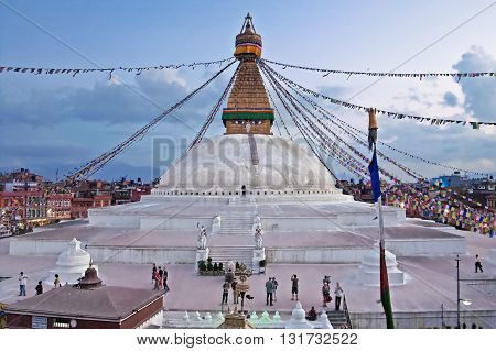 KATHMANDU, NEPAL - OCTOBER 03, 2008: The Boudhanath stupa is the holiest Buddhist landmark in Nepal and UNESCO site since 1979