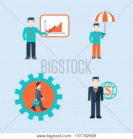 People icons business man situations web vector template